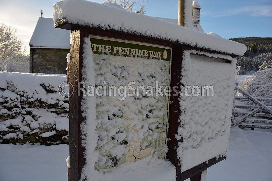 Pennine Way sign in winter